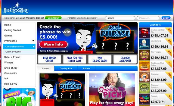 Jackpot Joy Cash Phrase
